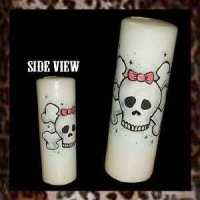 Pink Bow Skull Candle