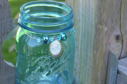 Blue Mason Jar Candle Holders