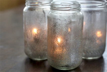 Glitter and Mod Podge Votive Lamps
