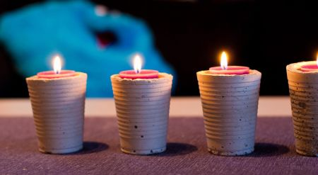 DIY Concrete cup Candle Holders