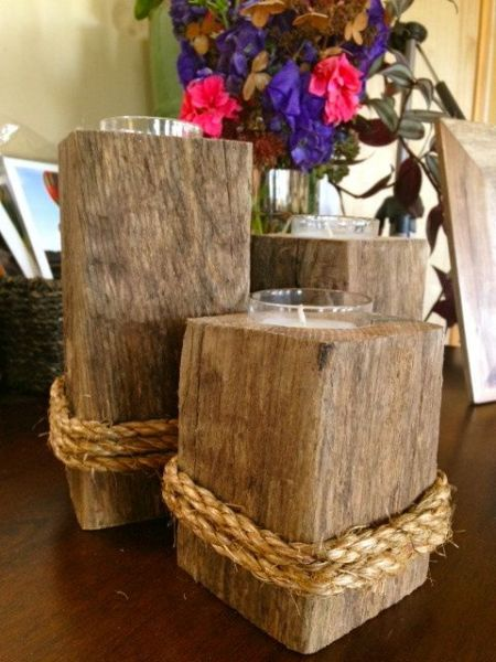 5 reclaimed wood candle holder from blue doors design