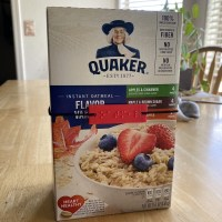 oatmeal box with reusable braille label