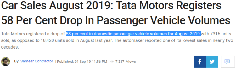 Tata Motors 58% reduction in sales Aug-19