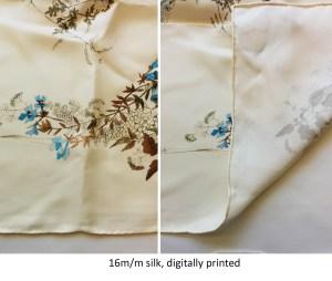 floral pattern on a cream colored custom silk scarf