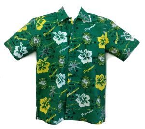 Pegasus helicopter unit Hawaiian shirt, green with yellow and white flowers