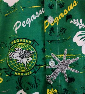 Closeup of a green Hawaiian shirt made for the Pegasus Helicopter Squadron