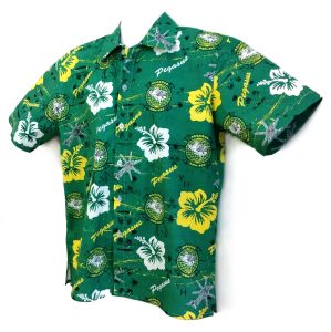 green Pegasus Squadron cotton shirt with white and yellow flowers