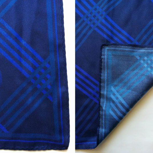 dark blue stripe design on silk twill custom scarves