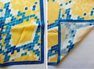 blue and yellow snakeskin on a silk twill custom scarf