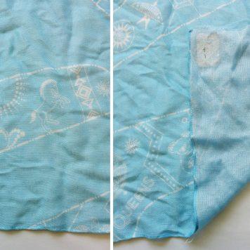 light blue and white design on a viscose custom scarf