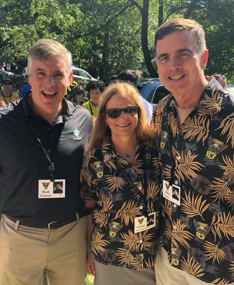 people wearing custom West Point Military '83 reunion aloha shirts