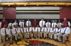 Williams Middle School students wearing their custom ties