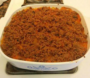 Rhonda's sweet potatoes in a casserole dish