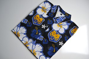 UNC, hawaiian shirt, blue, orange, bear