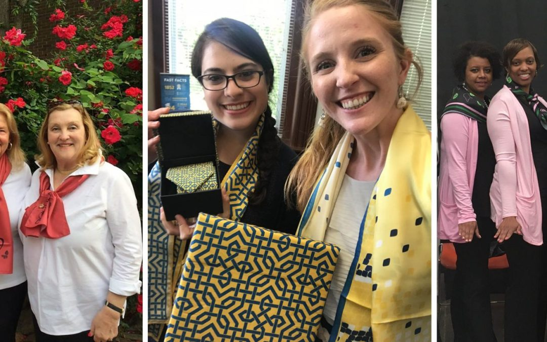 Galentine's Day, custom scarves, women wearing scarves together, sorority women