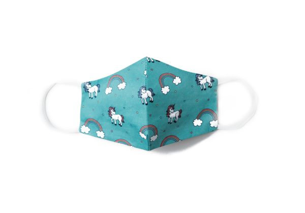 front view of teal unicorn and rainbow cotton face mask