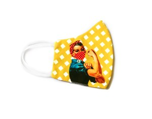 side view of yellow checkered face mask with image of Rosie the Riveter