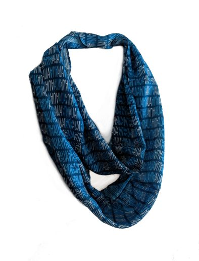 custom blue modal infinity scarf with AUA text pattern