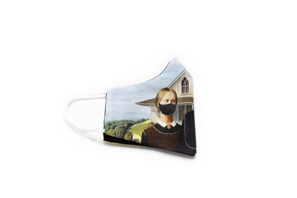 side view of cotton face mask depiciting American Gothic figures wearing masks