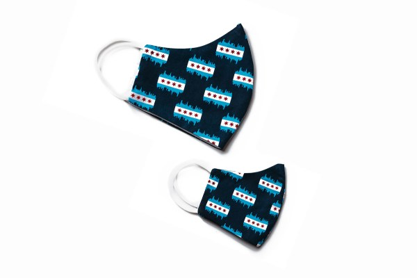 side view of adult and kids navy blue cotton face masks with Chicago flag and skyline pattern