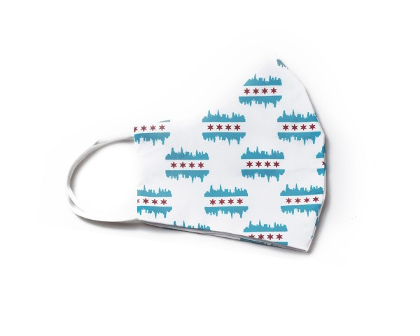 side view of white cotton face mask with Chicago flag and skyline pattern