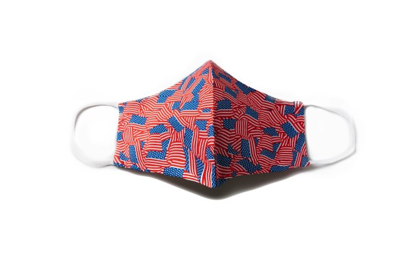 front view of cotton face mask with American flag pattern