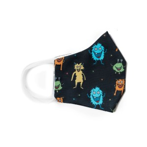 side view of navy cotton face mask with colorful critters pattern