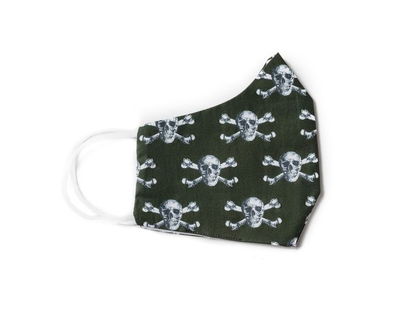 side view of olive cotton face mask with skull and crossbone pattern