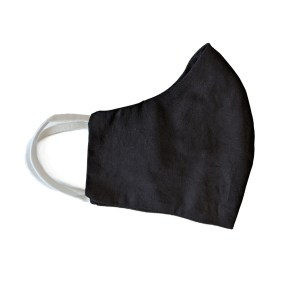 side view of black cotton face mask