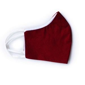 side view of brick red cotton face mask