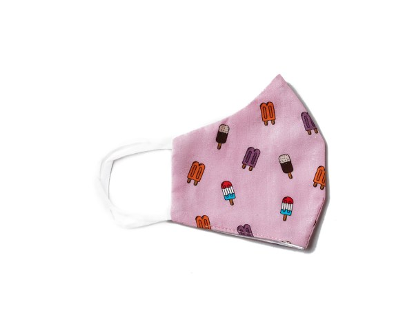 side view of light pink cotton face mask with popsicle pattern
