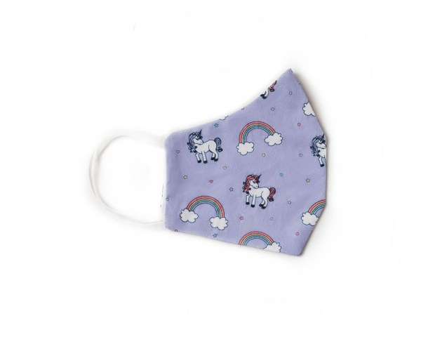 side view of purple cotton face mask with rainbow and unicorn pattern