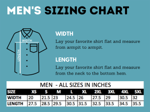 sizing char for men's Hawaiian shirts