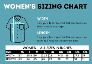 sizing chart for women's Hawaiian shirts
