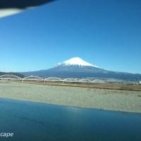 新幹線から見た富士川と富士山