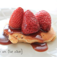 15. Oat Pancakes with Roasted Strawberries & Salted Caramel Sauce