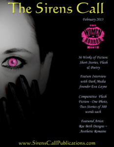 Book Cover: Dark Place Called Murder   Sirens Call Publications   Women in Horror Issue   February 2013 – Issue 07