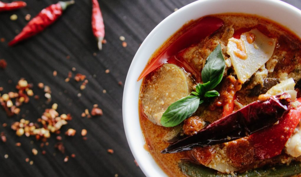 Thai Style Soup with Chicken and Red Chilli