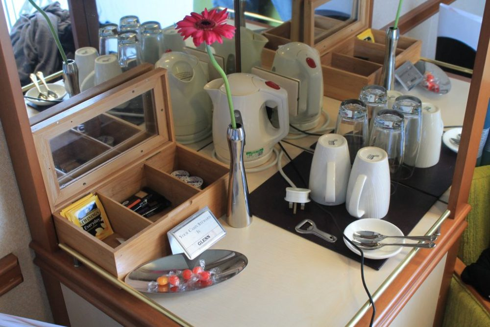 tea and coffee station, azura cabin