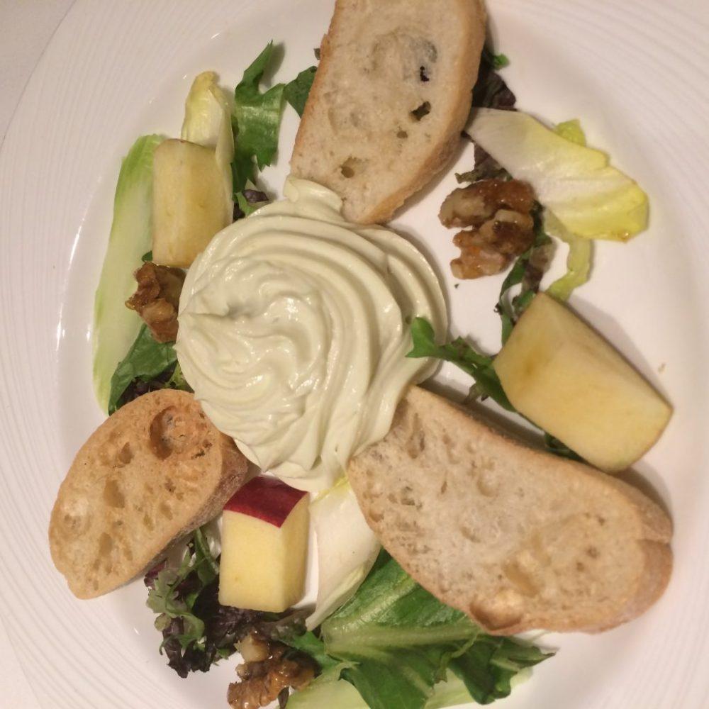 cruise ship food, cruise ship starters, cream cheese salad, azura cruise ship food