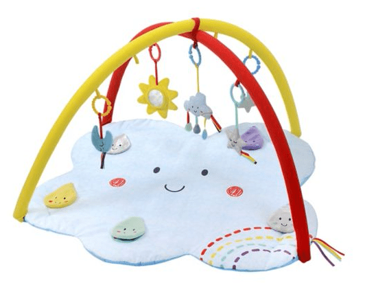 say hello tummy time cloud and rainbow baby mat