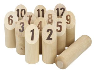Wooden Pins with Numbers for Finnish Outdoor Lawn Game Molkky