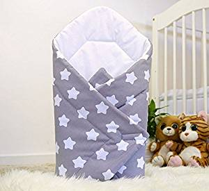 Baby Swaddle Wrap Blanket, Grey with White Stars, New Baby Wishlist