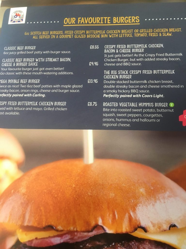 Landguard Holiday Park Menu