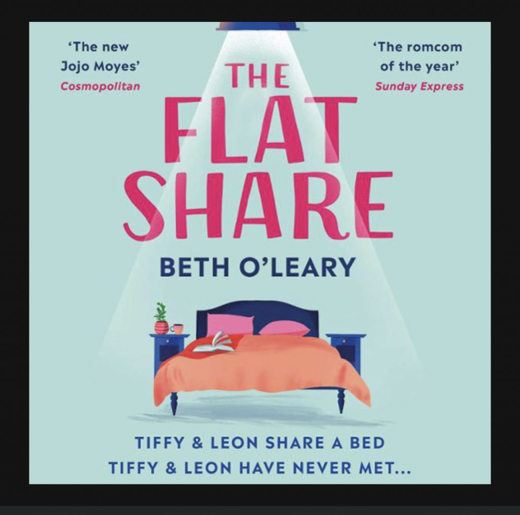 the flatshare audio book cover featuring the title of the book 'the flatshare' the author's name Beth O'Leary and a drawing of a double bed