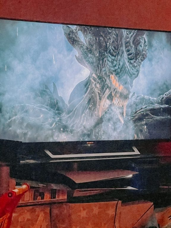 A picture of a TV playing Demon's Souls on on the PS5