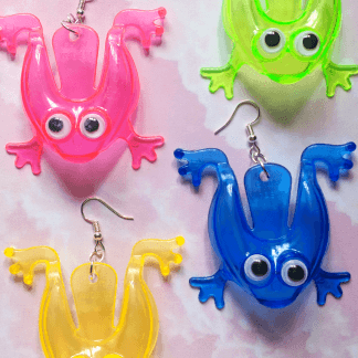 Tiddlywink tiddly wink frog frogs rainbow colour colourful color colorful toy toys plastic transparent bright statement googly eyes fun Earring earrings jewellery rave raver raving disco clubbing festival wear neon y2k clubwear hand made handmade cybertwee neon clubkid club kid carnival streetstyle harajuku street style cyber kinderwhore techno basement underground urban club kid klub kitsch party kei Altboy alternative style alt fashion clowncore aesthetic eboy egirl goblincore goth style grudge jfashion kidcore party kei pastel goth punk boy girl style queer LGBT shop buisness scenecore rainbowcore