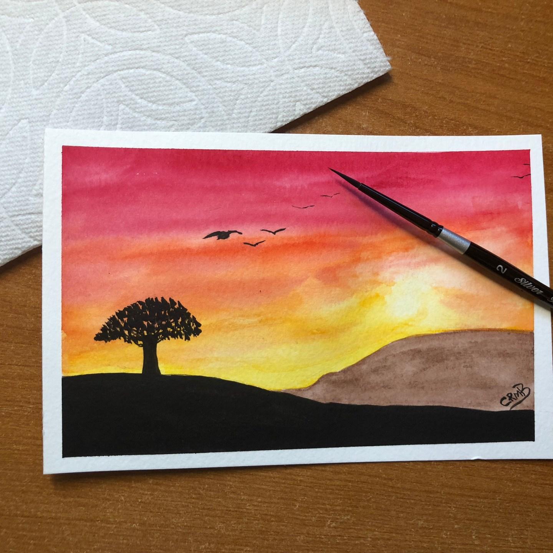 Watercolor – Golden Sunset