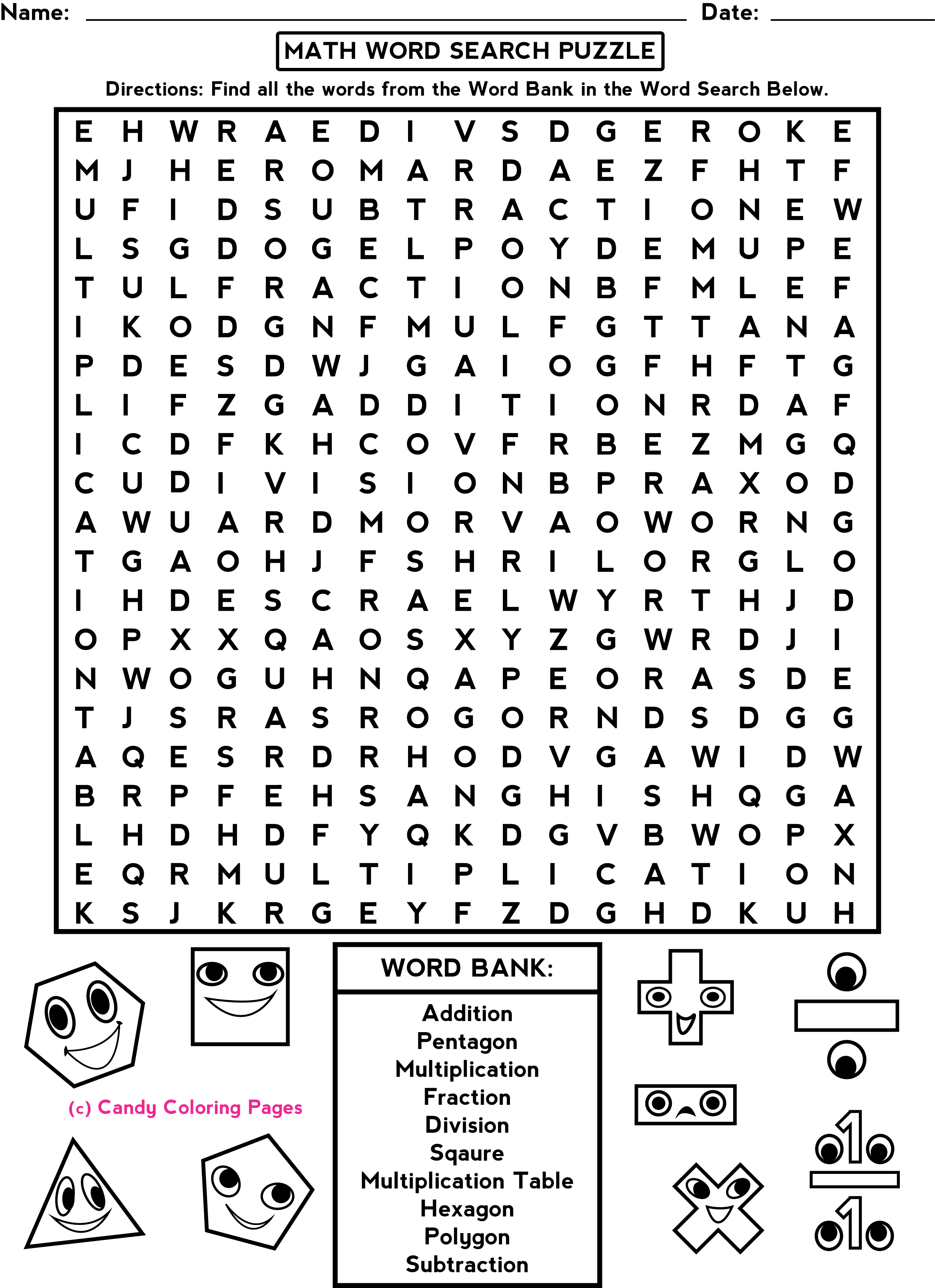 Fun Coloring Math Worksheet Grade 3
