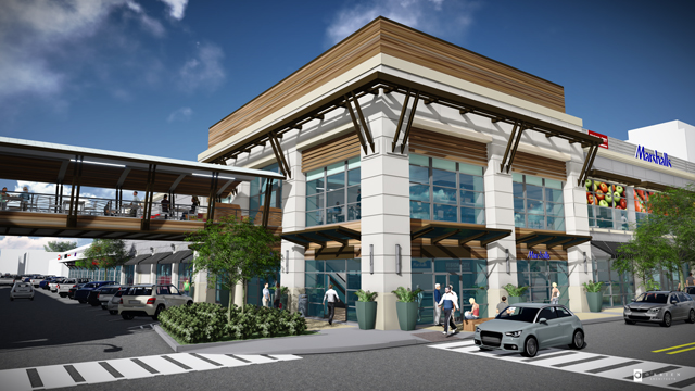 Here you can see what the proposed skybridge looks like at Preston Center Pavilion.